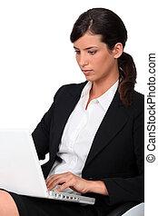 användande laptop, kvinna, dator