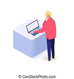 användande laptop, man