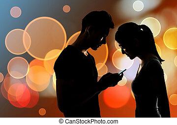 användande, par, mobiltelefon