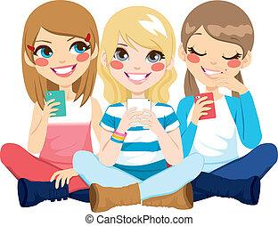 användande, smartphone, flickor, sittande