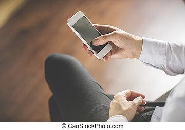 användande, smartphone, hand