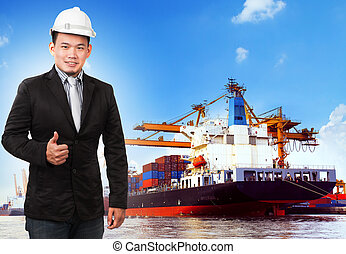 anvendelse, beholder, firma, comercial, skib, havn, mand