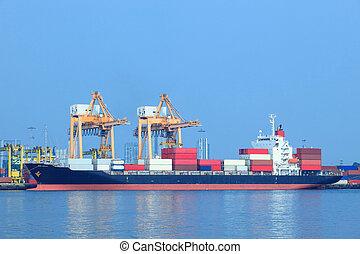 anvendelse, beholder, kommerciel, import, skib, havn