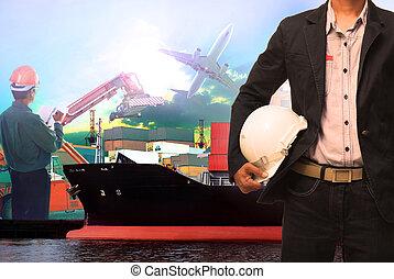 anvendelse, ve, arbejder, skib, havn, mand