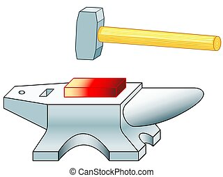 Anvil and hammer - Illustration of the anvil and sledge...
