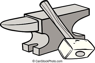 A cartoon illustration of an Anvil and Sledgehammer.