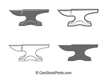 Anvil. Blacksmith equipment. - Anvil. Vintage Style. Vector...