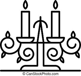 Anvil candle support icon, outline style - Anvil candle...