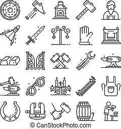 Anvil icon set, outline style - Anvil icon set. Outline set...