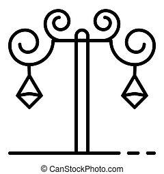 Anvil street light pillar icon, outline style - Anvil street...