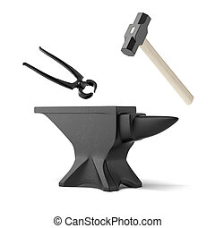 anvil, tongs and a blacksmith's hammer isolated on a white...
