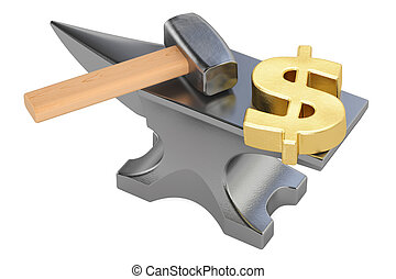anvil with gold dollar symbol, 3D rendering