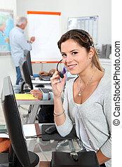 anwender, calldesk, vrouwlijk