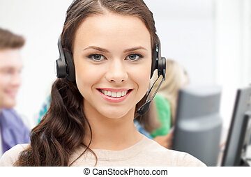 anwender, helpline, headphones, roepen centrum