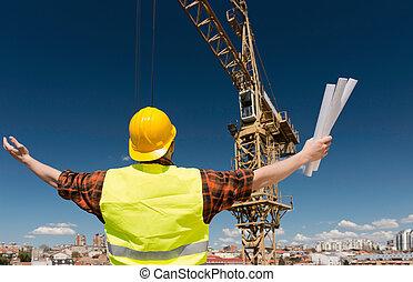 anwender, kraan, de arbeider van de bouw, het communiceren
