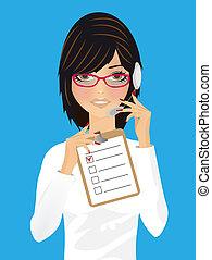 anwender, receptionist, kantoor, vrouw