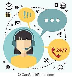 anwender, vrouw, calldesk, telemarketing
