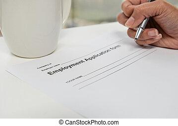 anwendung, anstellung, form, schreibende