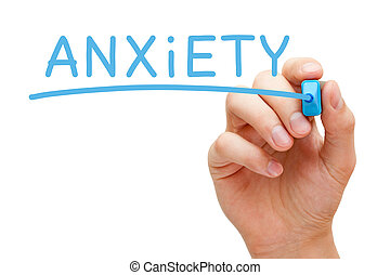 Anxiety Blue Marker - Hand writing Anxiety with blue marker...