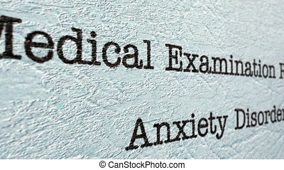 Anxiety disorder medical report
