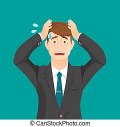 Anxiety person portrait on blue background. Cartoon...