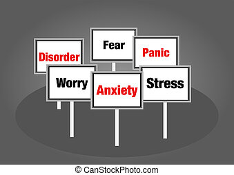 Anxiety signs - Anxiety and stress disorder concept signs...