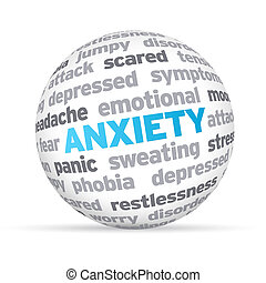Anxiety - 3d Anxiety Word Sphere on white background.