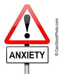 Anxiety warning. - Illustration depicting a red and white...