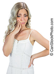 Anxious blond model thinking