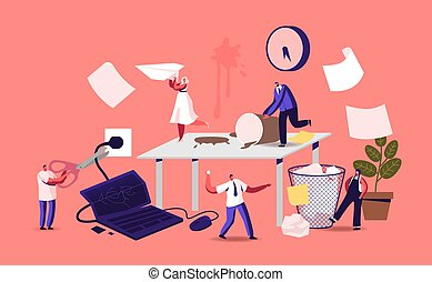 Anxious Business Characters in Chaos Office Workplace. Deadline Failure, Running Furious Stressed Workers Hurry with Job