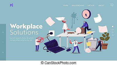 Anxious Business Characters in Chaos Office Workplace Landing Page Template. Deadline Failure, Stressed Workers Hurry Up