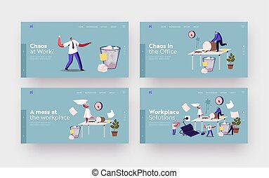 Anxious Business Characters in Chaos Workplace Landing Page Template Set. Deadline, Stressed Workers Hurry with Job