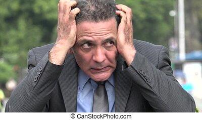 Anxious Nervous Adult Hispanic Businessman