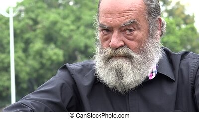 Anxious Old Bearded Man