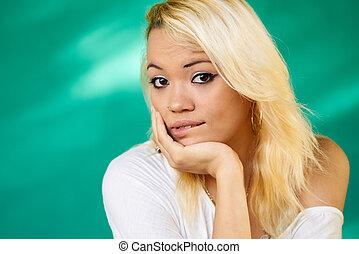 Anxious People Portrait Latina Girl Biting Lips