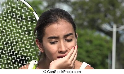 Anxious Teen Female Tennis Player