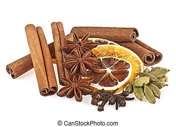 anyż, cynamon, kardamon, tło., zasuszony, pomarańcza, biały, goździk, spices., wtyka