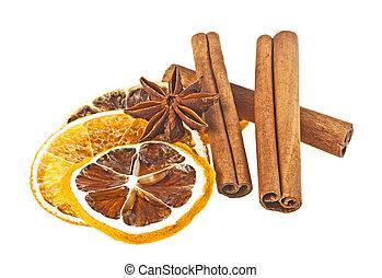 anyż, cytryna, wtyka, kromki, zasuszony, tło, pomarańcza, biały, cynamon