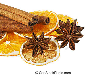 anyż, -, ozdoba, pomarańcza, cynamon, tło, białe boże narodzenie