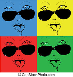 Any colored girl faces the glasses in pop-art style