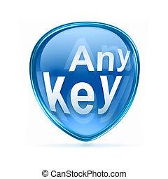 Any Key icon blue, isolated on white background