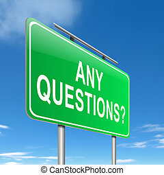 Illustration depicting a sign with an any questions concept.