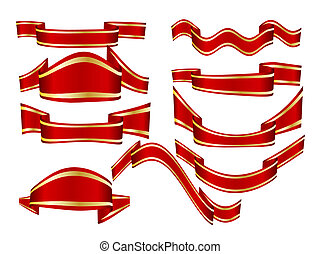 Any ribbons vector set over white