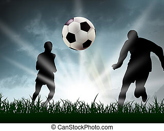 soccer - any teenager are playing soccer in the grass