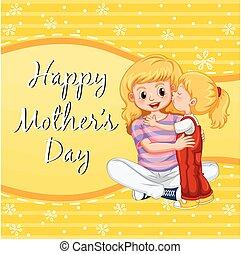 anya, anyu, csókolózás, leány, nap, kártya, boldog