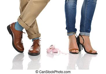 anya, atya, csecsemő lábfej, emelet, várakozás, cipők