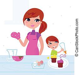 anya, boldog, fiú, főzés, konyha, neki