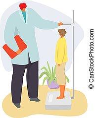 anya, karikatúra, orvos, ábra, gyermekorvos, beteg, kölyök, elszigetelt, gyermek, vektor, orvosi, gyerekek, betűk, vizsga, fehér