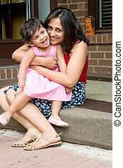 anya, lány, bejárati lépcső, ülés