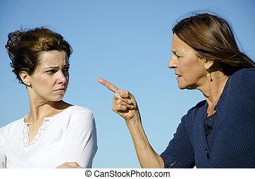 anya lány, két, nemzedék, birtoklás, egy, vita